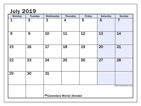 Calendar  July 2019, 57MS