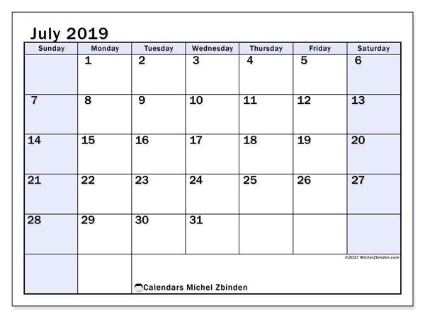 Calendar  July 2019, 57SS