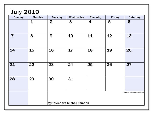 July 2019 Calendar, 57SS. Free printable bullet journal.