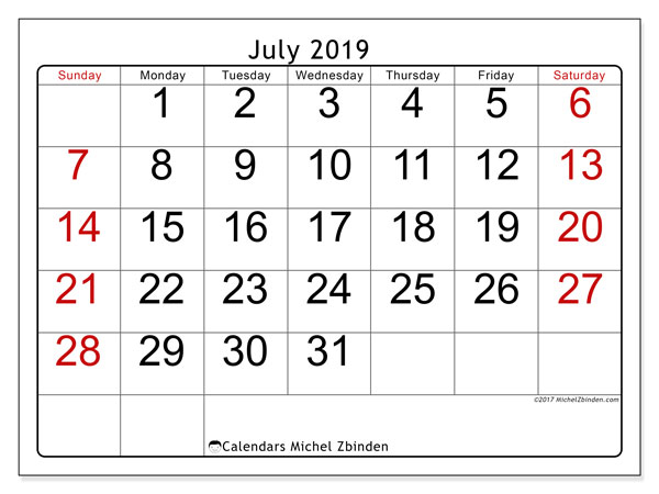 July 2019 Calendar, 62SS. Monthly planner to print free.