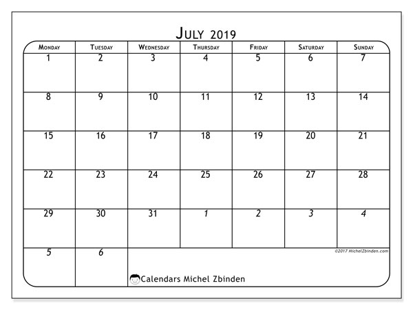 July 2019 Calendar, 67MS. Free printable calendar.