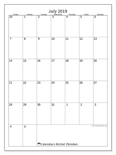 July 2019 Calendar, 68SS. Planner to print free.