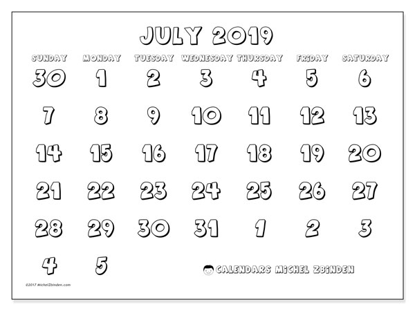 Calendar  July 2019, 71SS