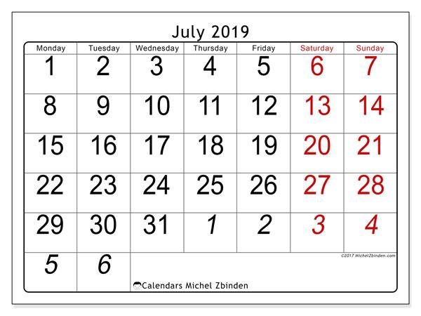 Calendar  July 2019, 72MS