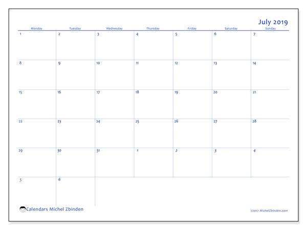 Calendar  July 2019, 73MS