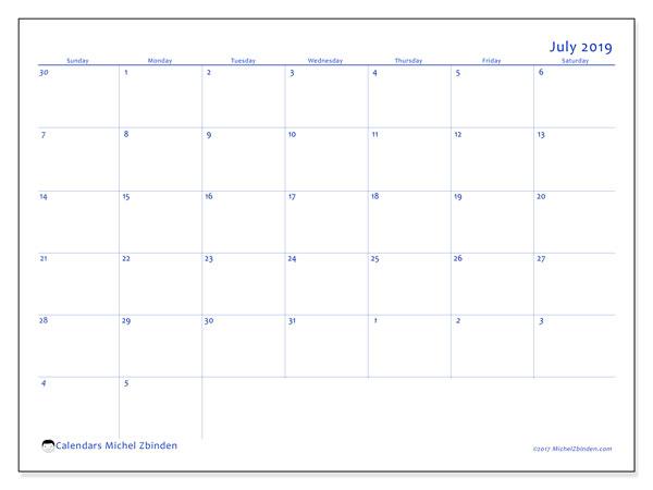 Calendar  July 2019, 73SS