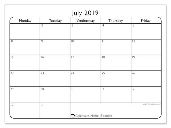 July 2019 Calendar, 74MF. Free printable monthly planner.