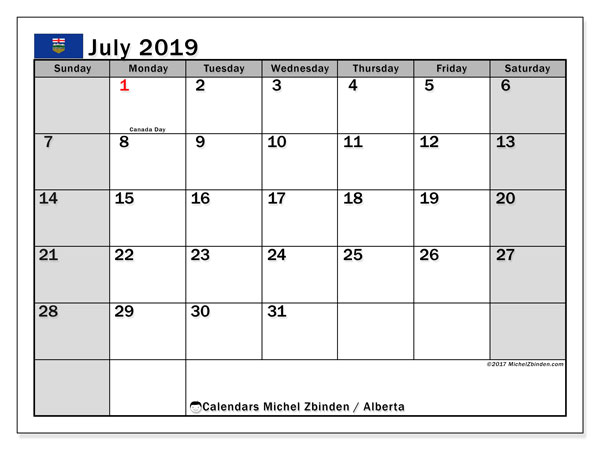 Calendar July 2019, with the holidays of Alberta. Free printable calendar.