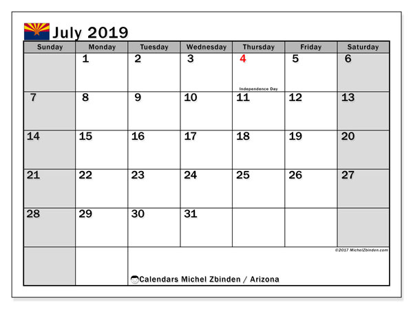 July 2019 Calendar, with the holidays of Arizona. Free printable calendar with public holidays.