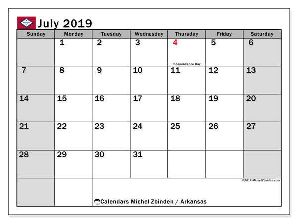 July 2019 Calendar, with the holidays of Arkansas. Holidays calendar to print free.