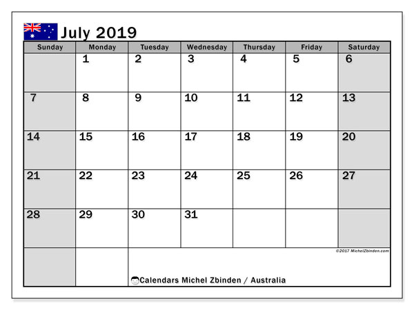 picture regarding Printable July Calendar referred to as July 2019 Calendar, Australia - Michel Zbinden EN