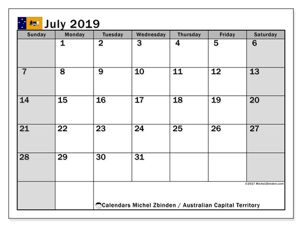 Calendar July 2019, with the holidays of Australian Capital Territory. Calendar to print free.