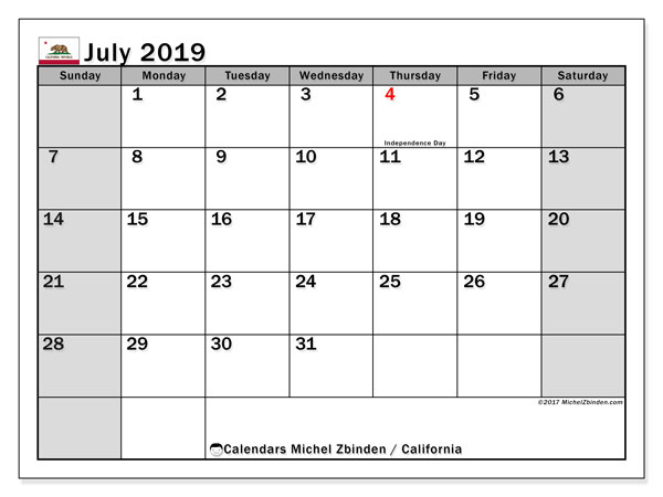 July 2019 Calendar, with the holidays of California. Free printable calendar with public holidays.