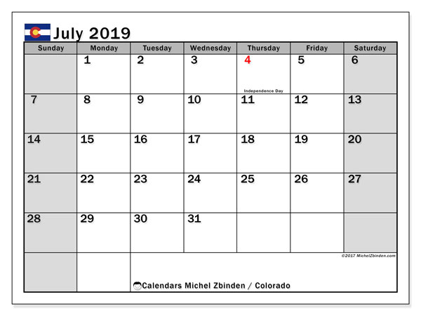 July 2019 Calendar, with the holidays of Colorado. Free printable calendar with public holidays.