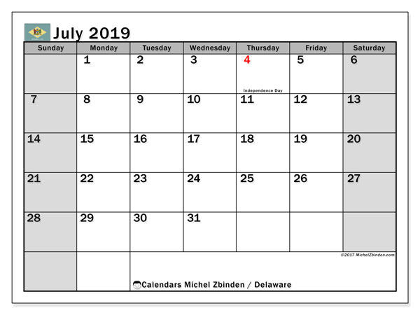 July 2019 Calendar, with the holidays of Delaware. Free printable calendar with public holidays.