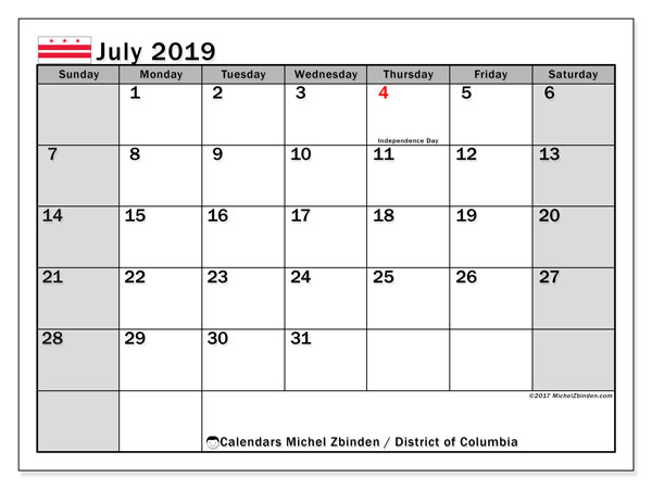 July 2019 Calendar, with the District of Columbia holidays. Free printable calendar with public holidays.