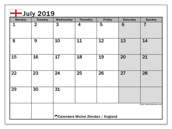 Calendar July 2019, with the holidays of England. Planner to print free.