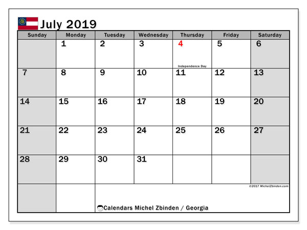 July 2019 Calendar, with the holidays of Georgia. Free printable calendar with public holidays.