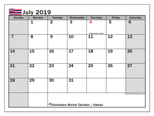 July 2019 Calendar, with the Hawaii holidays. Free printable calendar with public holidays.