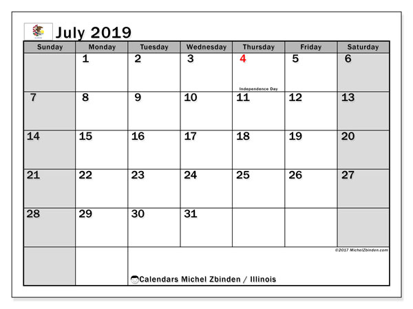 July 2019 Calendar, with the holidays of Illinois. Holidays calendar to print free.
