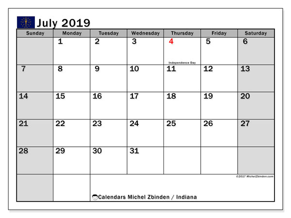 July 2019 Calendar, with the holidays of Indiana. Free printable calendar with public holidays.