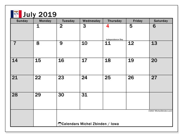 July 2019 Calendar, with the holidays of Iowa. Holidays calendar to print free.