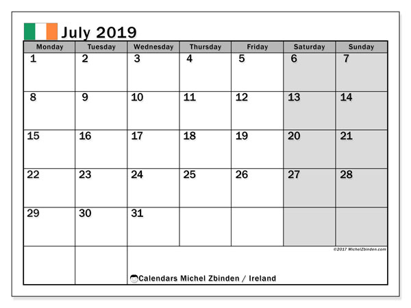 Calendar July 2019, with the holidays of Ireland. Monthly planner to print free.