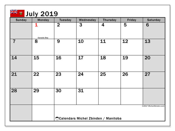 Calendar July 2019, with the holidays of Manitoba. Free printable monthly planner.