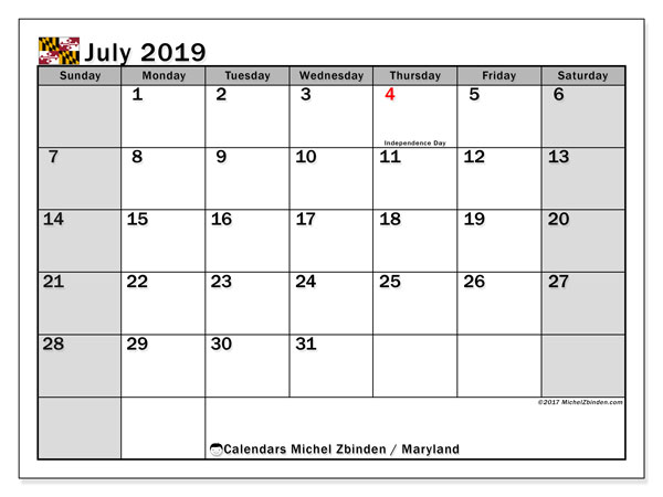 July 2019 Calendar, with the holidays of Maryland. Holidays calendar to print free.