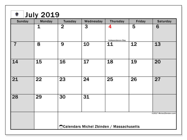 July 2019 Calendar, with the holidays of Massachusetts. Free printable calendar with public holidays.