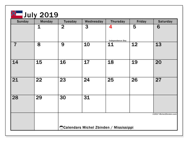 July 2019 Calendar, with the Mississippi holidays. Holidays calendar to print free.