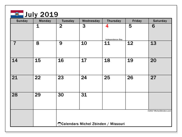 July 2019 Calendar, with the holidays of Missouri. Free printable calendar with public holidays.