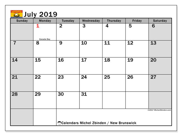 Calendar July 2019, with the holidays of New Brunswick. Free bullet journal to print.