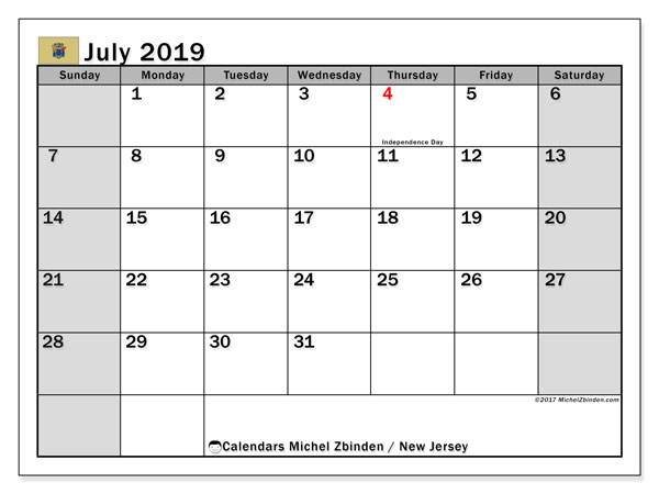 July 2019 Calendar, with the holidays of New Jersey. Free printable calendar with public holidays.
