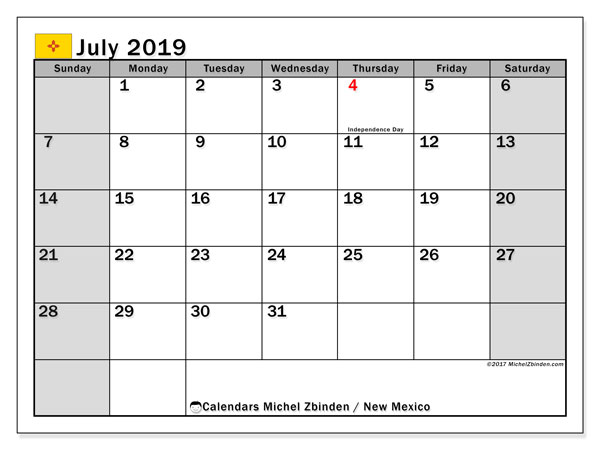 July 2019 Calendar, with the holidays of New Mexico. Free printable calendar with public holidays.
