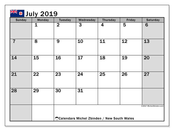 Calendar New South Wales, July 2019