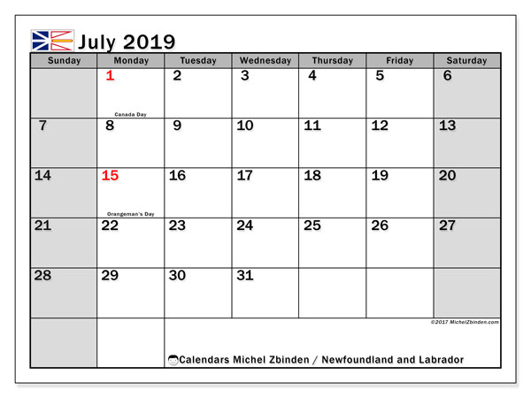 Calendar July 2019, with the holidays of Newfoundland and Labrador. Monthly calendar to print free.