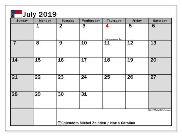 July 2019 Calendar, with the holidays of North Carolina. Free printable calendar with public holidays.