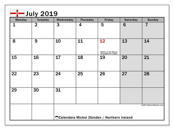 Calendar July 2019, with the holidays in Northern Ireland. Monthly calendar to print free.