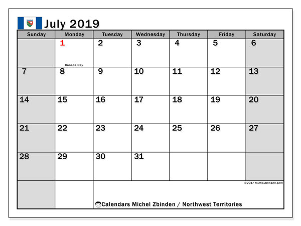Calendar July 2019, with the holidays of Northwest Territories. Free printable calendar.
