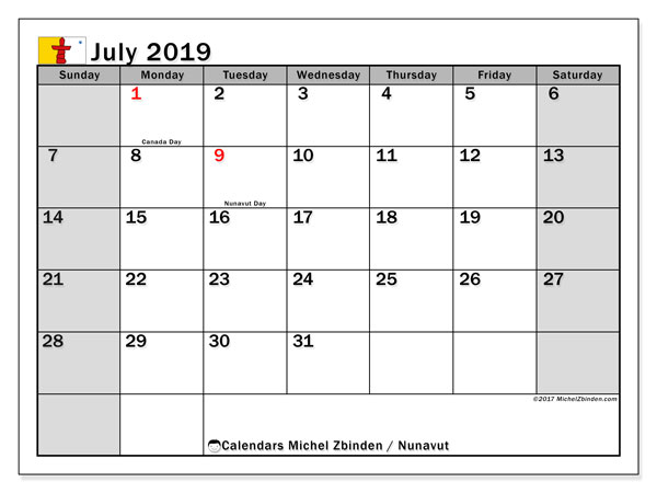 Calendar July 2019, with the holidays of Nunavut. Planner to print free.