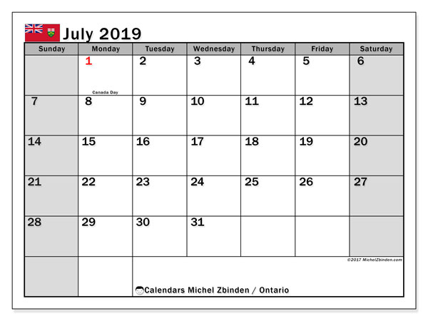 Calendar July 2019, with the holidays of Ontario. Bullet journal to print free.