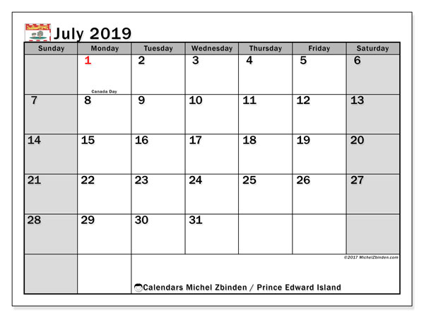 July 2019 Calendar  - Prince Edward Island. Printable calendar: official holidays.