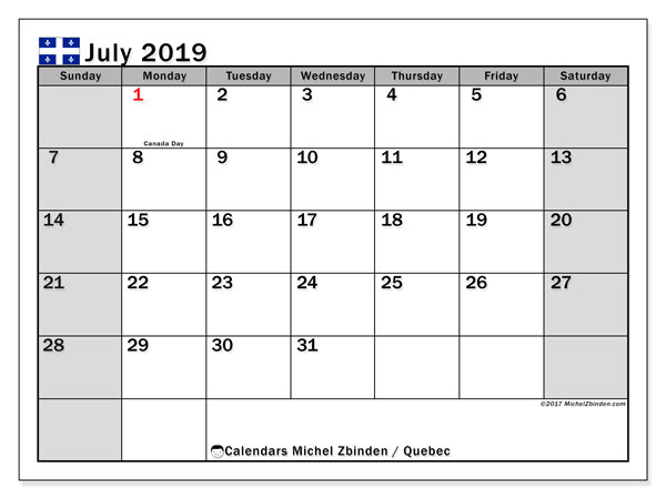July 2019 Calendar  - Quebec. Printable calendar: public holidays.