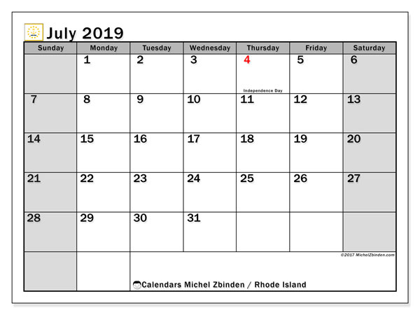 July 2019 Calendar, with the holidays of Rhode Island. Free printable calendar with public holidays.