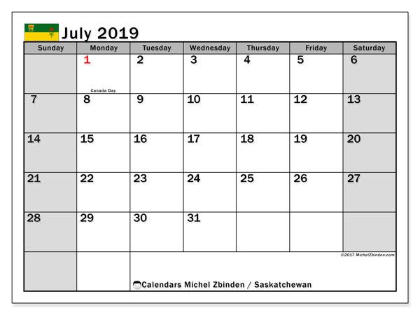 Calendar July 2019, with the holidays of Saskatchewan. Free calendar to print.
