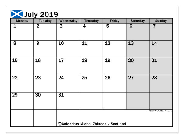 Calendar July 2019, with the holidays of Scotland. Free printable bullet journal.