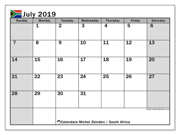 July 2019 Calendar, with the holidays of South Africa. Free printable calendar with public holidays.