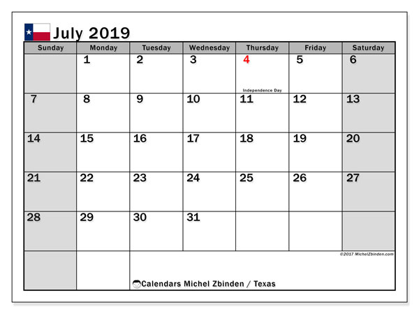 July 2019 Calendar, with the holidays of Texas. Holidays calendar to print free.
