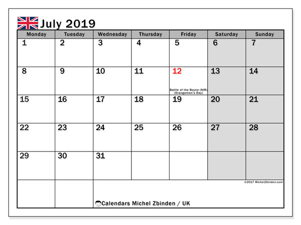 July 2019 Calendar  - UK. Printable calendar: public holidays.